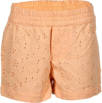 Tickles By Inmark Embroidered Girl,s Orange Basic Shorts