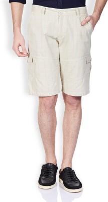 Vintage Solid Men's Beige Denim Shorts