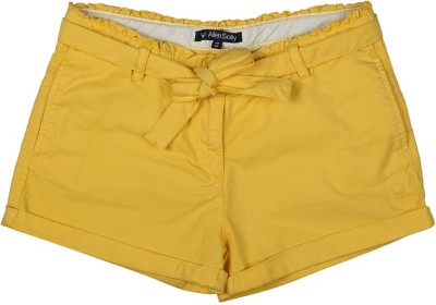 Allen Solly Solid Girl's Yellow Basic Shorts