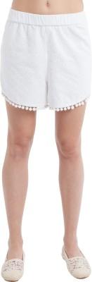 SbuyS Self Design Women's White Basic Shorts