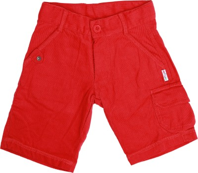 Milou Solid Boy's Red Basic Shorts