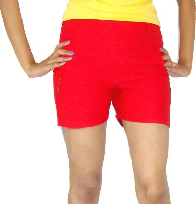 E2G Solid Women's Red Hotpants