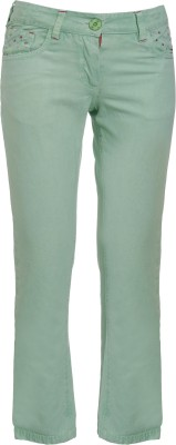UFO Embroidered Women's Green Basic Shorts at flipkart