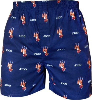 Gee & Bee Printed Men's Dark Blue Basic Shorts