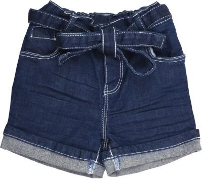 Coffee Bean Self Design Baby Girl's Light Blue Denim Shorts