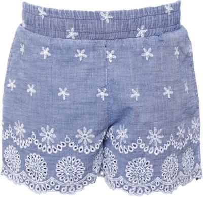 UFO Embroidered Girl's Dark Blue Denim Shorts
