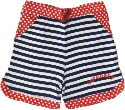 Tomato Striped Girl's Blue, Red Basic Shorts