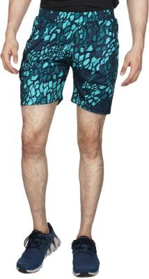 Creez Printed Men's Green Sports Shorts