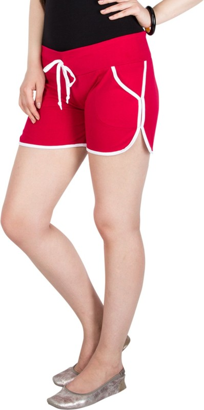 Campus Sutra Solid Women's Red Dolphin Shorts