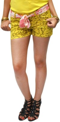 S9 Women Floral Print Women's Yellow, Brown Denim Shorts