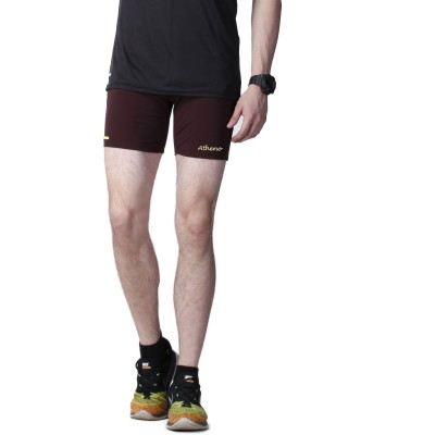 Athena Solid Men,s Brown Gym Shorts