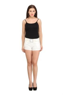 Star Style Self Design Women's White Basic Shorts at flipkart