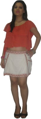 CARMINO CASUALS Embroidered Women's White Baggy Shorts