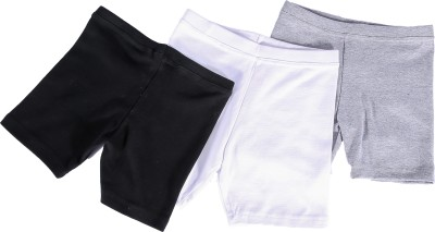 Abito Juniors Solid Girl's Black, White, Grey Cycling Shorts