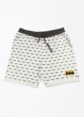 Batman Printed Boy's White Basic Shorts