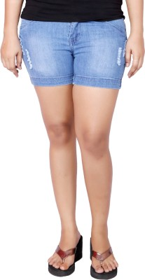 Present Jeans Solid Women's Denim Light Blue Basic Shorts