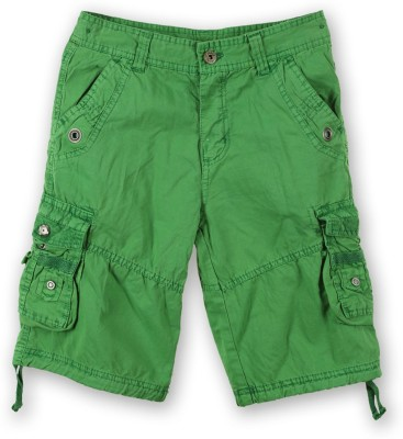 Lilliput Solid Boy's Green Cargo Shorts