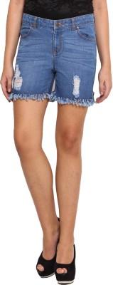 La Stella Solid Women's Blue Denim Shorts