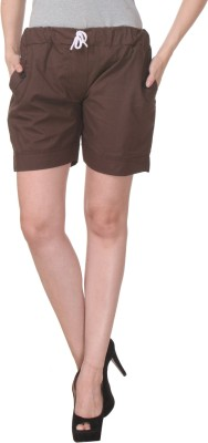 TeeMoods Solid Women's Brown Basic Shorts at flipkart