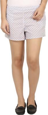 Modimania Printed Women's White, Blue Basic Shorts