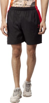Gypsum Solid Men's Black, Red Sports Shorts