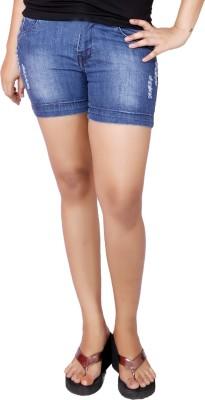 Present Jeans Solid Women's Denim Blue Basic Shorts