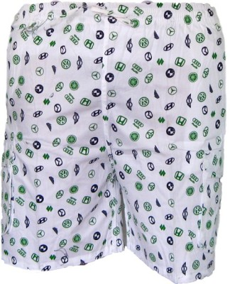 Cottvalley Printed Men's White, Yellow Basic Shorts