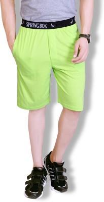 Lanosuc Solid Men's Green Basic Shorts