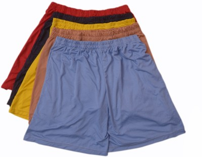 Rosmok Solid Men's Light Blue, Red, Yellow, Black, Brown Sports Shorts