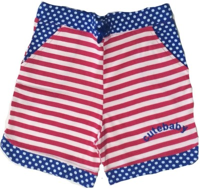Tomato Striped Girl's Pink, Blue Basic Shorts