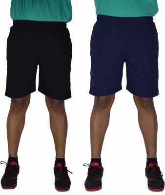 DFH Solid Mens Blue, Black Basic Shorts