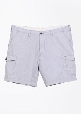 John Players Striped Men's White, Grey Basic Shorts