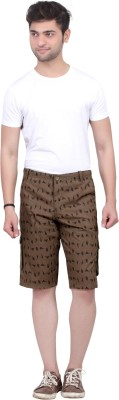 Trustedsnap Printed Men's Brown Cargo Shorts