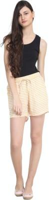 zurick Striped Women's Yellow Basic Shorts