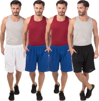 Meebaw Self Design Men,s White, Blue, Blue, Black Sports Shorts