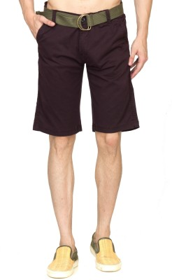 Sokool Solid Men's Purple Chino Shorts