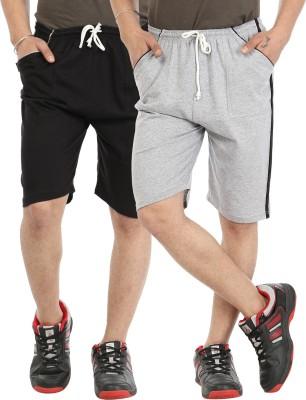Gumber Solid Men's Black, Grey Basic Shorts