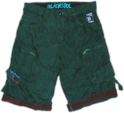 Blacksoul Floral Print Men's Green Cargo Shorts