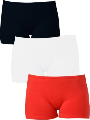 Softrose Solid Women's Black, Red, White Sports Shorts