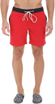 Zobello Solid Mens Black, Red Swim Shorts