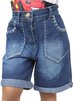 Ebry Solid Boy's Blue Denim Shorts