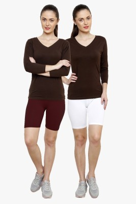 Softrose Solid Women's Maroon, White Cycling Shorts