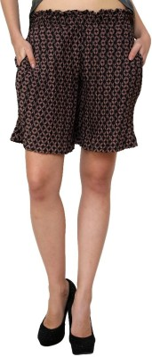 Zotw Printed Women's Brown, Black Denim Shorts