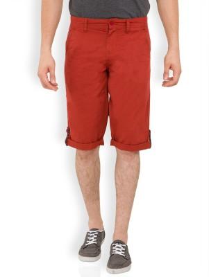 Locomotive Solid Men's Red Bermuda Shorts