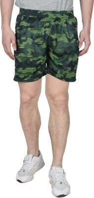 Creez Printed Men's Black, Green Sports Shorts
