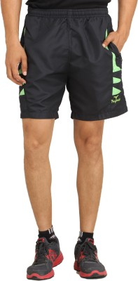 Indus Striped Men's Black Sports Shorts