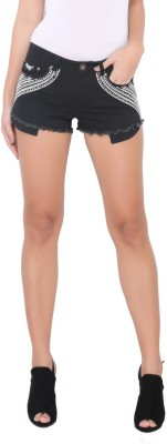 Again? Vintage Solid Women's Black Chino Shorts