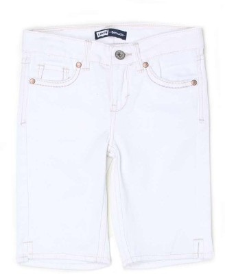 Levi's Solid Girl's Denim White Denim Shorts