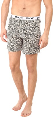 I-Voc Floral Print Men's Beige, Black Boxer Shorts