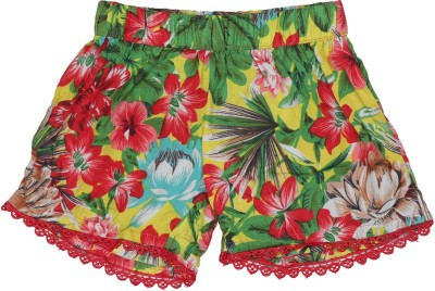Addyvero Floral Print Girl's Green, Red Basic Shorts